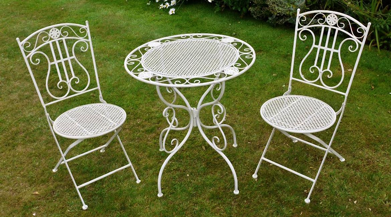 Salon de jardin fer forgé table ovale
