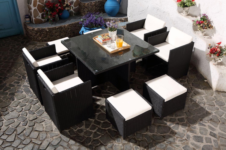 Salon de jardin en résine tressée fauteuils encastrables