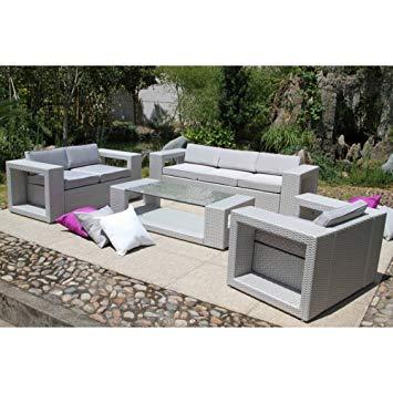 Salon de jardin gris et fushia