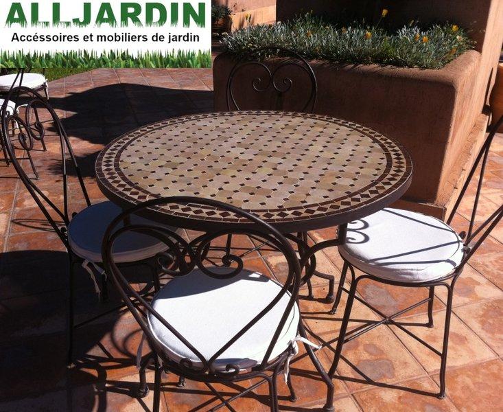 Salon de jardin en fer table ronde - Mailleraye.fr jardin