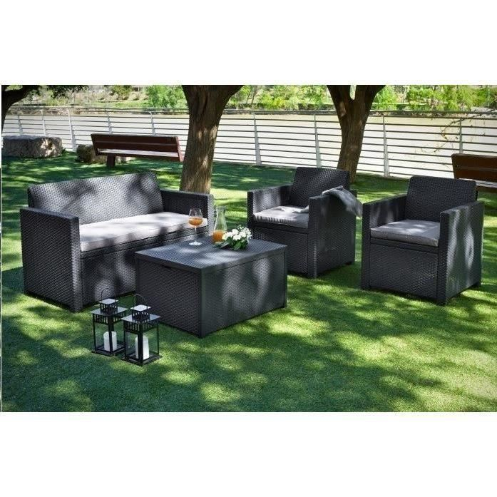 Salon jardin resine tressee table coffre