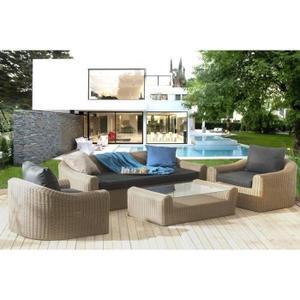 Salon de jardin en plastique beige - Mailleraye.fr jardin