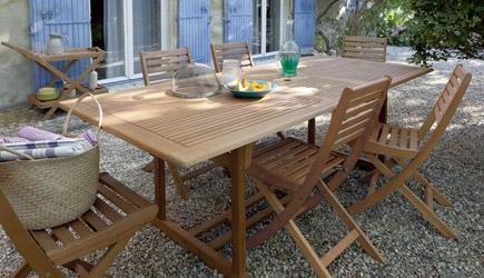 Salon de jardin en bois exotique - Mailleraye.fr jardin