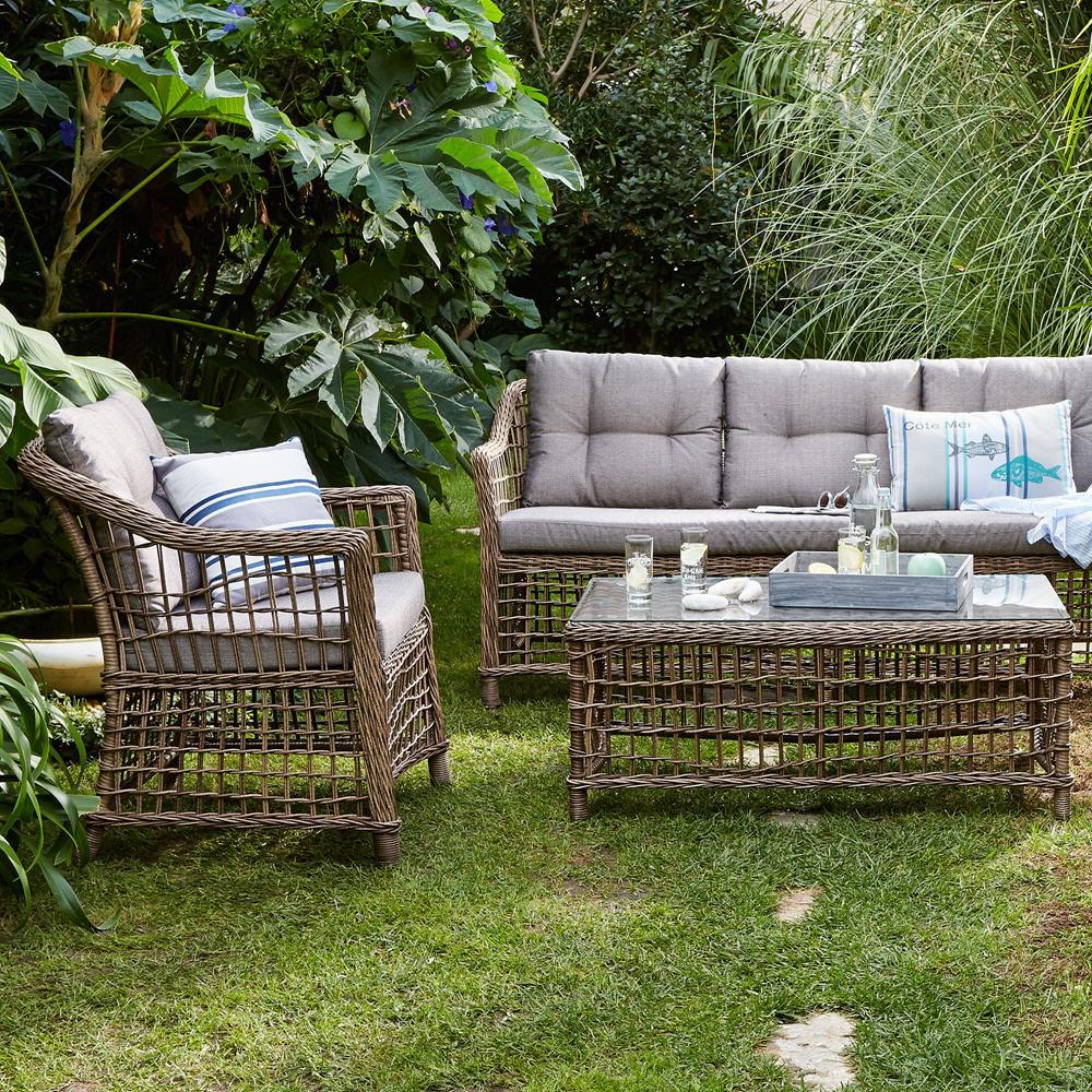 Salon de jardin en resine imitation rotin - Mailleraye.fr jardin