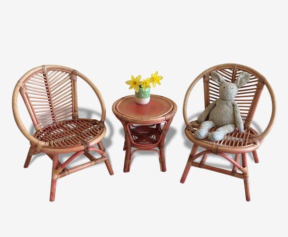 Salon de jardin fauteuil osier