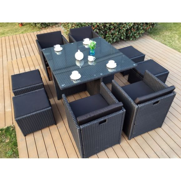 Salon de jardin en rotin encastrable