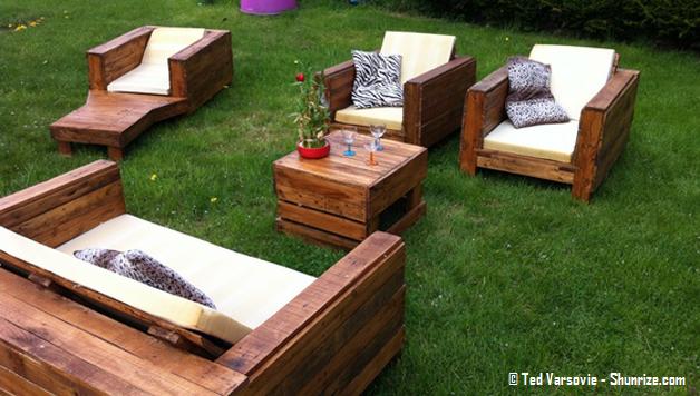 Salon de jardin en bois palette - Mailleraye.fr jardin