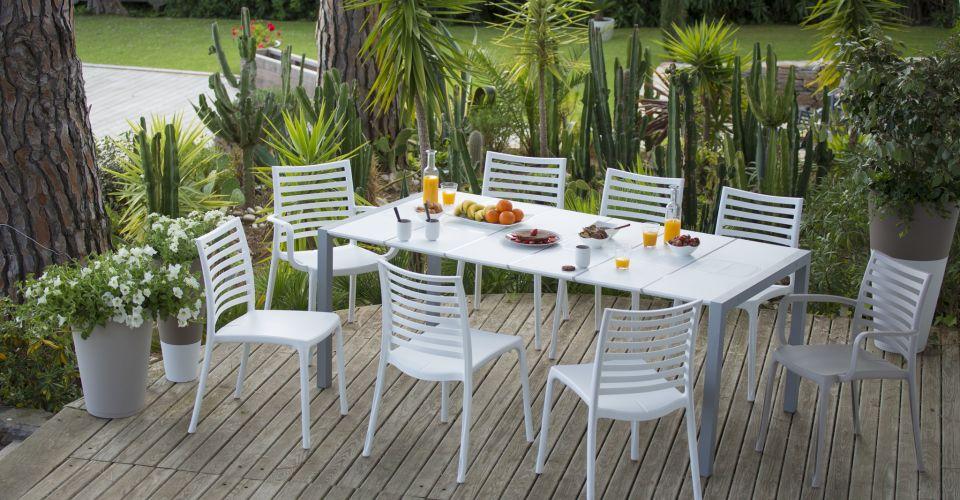Table salon de jardin plastique 8 personnes - Mailleraye.fr jardin