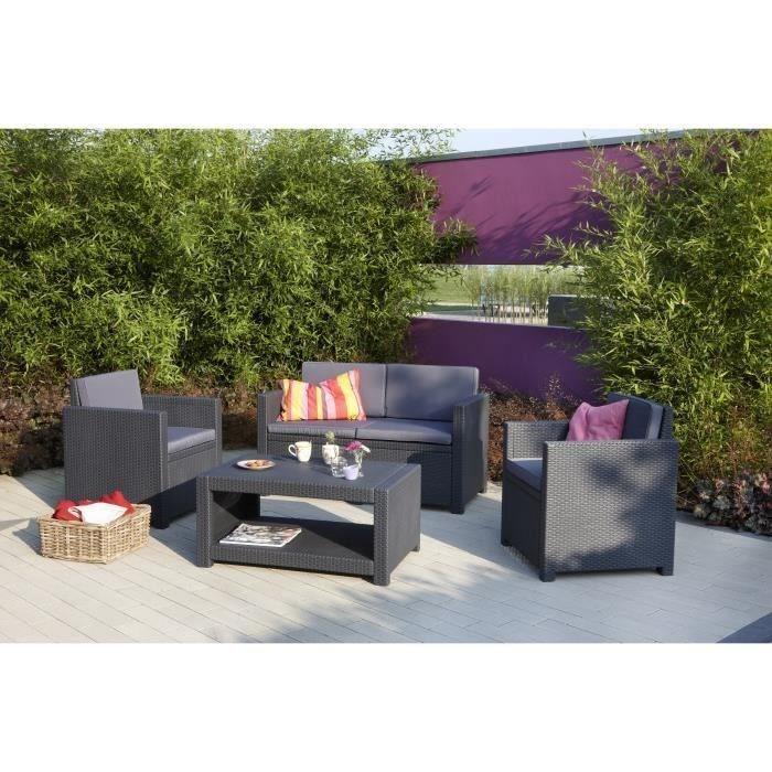 Salon de jardin plastique gris anthracite - Mailleraye.fr jardin