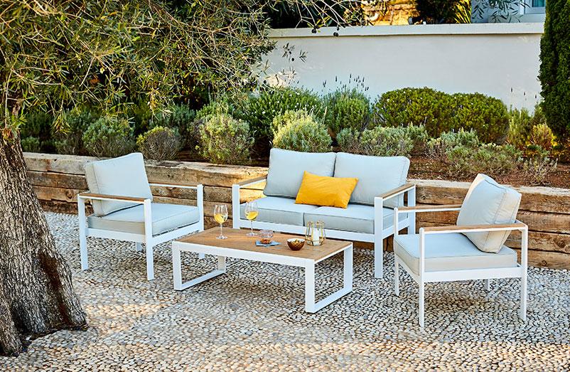 Salon de jardin en bois de teck huilé bali 6/8 places ...