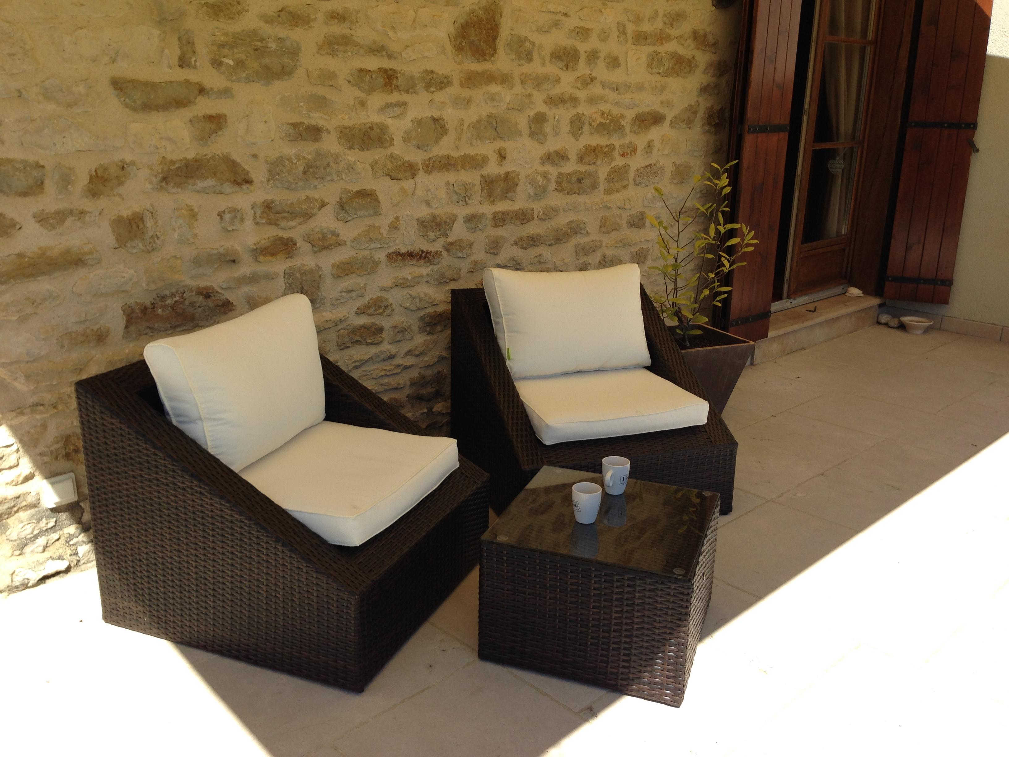 Salon de jardin table basse fauteuil - Mailleraye.fr jardin