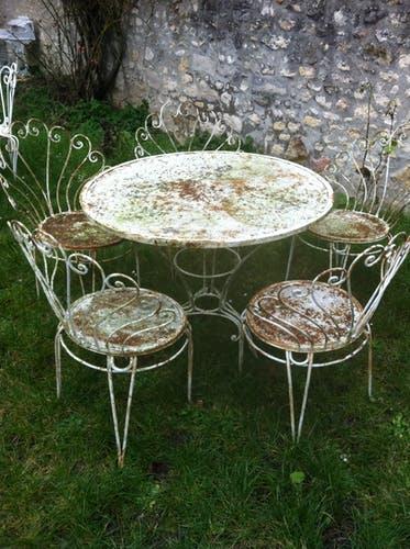 Table de salon de jardin fer forgé - Mailleraye.fr jardin