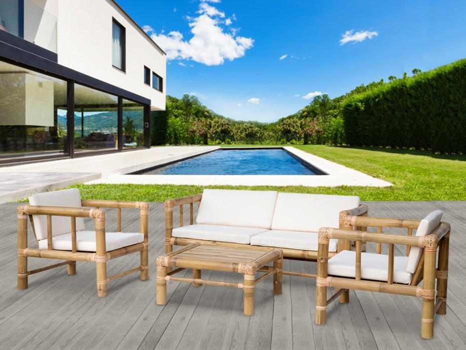 Prix salon de jardin en bambou