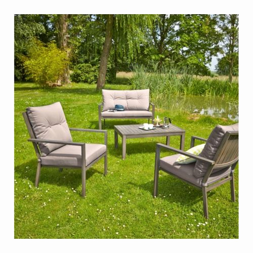 Salon de jardin bas aluminium gris - Mailleraye.fr jardin