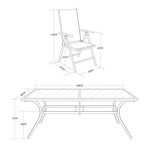Salon de jardin en aluminium table 8 places anthracite textilène fauteuil