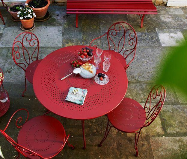 Salon de jardin couleur rouge