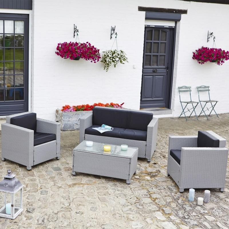 Salon de jardin en resine gris clair - Mailleraye.fr jardin
