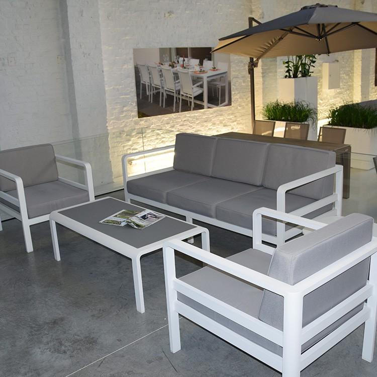 Salon de jardin gris blanc