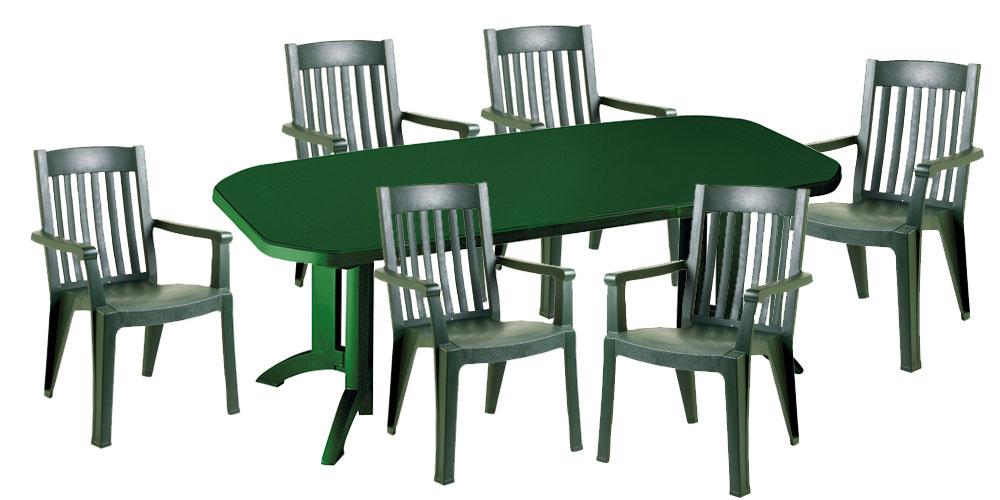 Table salon de jardin plastique vert - Mailleraye.fr jardin