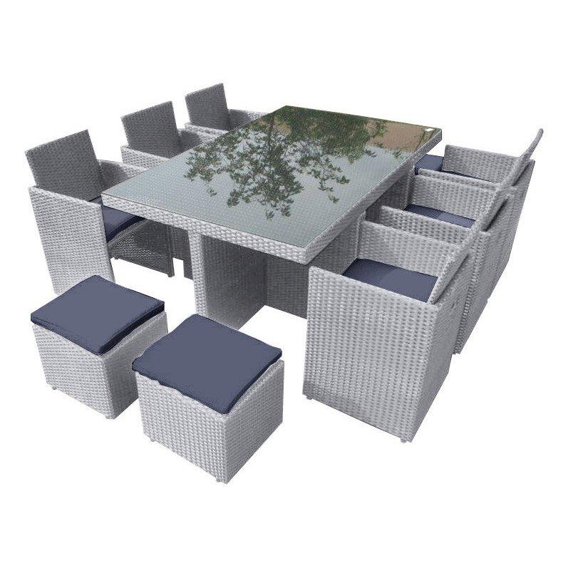Salon de jardin résine tressée gris anthracite - Mailleraye ...