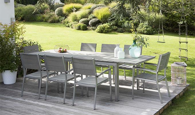 Salon de jardin en aluminium imitation bois - Mailleraye.fr jardin