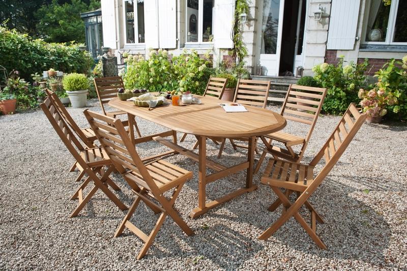 Salon de jardin en bois blanc - Mailleraye.fr jardin