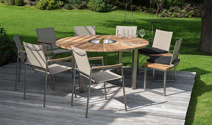 Table de salon de jardin ronde avec plateau tournant - Mailleraye.fr ...