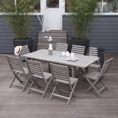 Salon de jardin en bois gris - Mailleraye.fr jardin