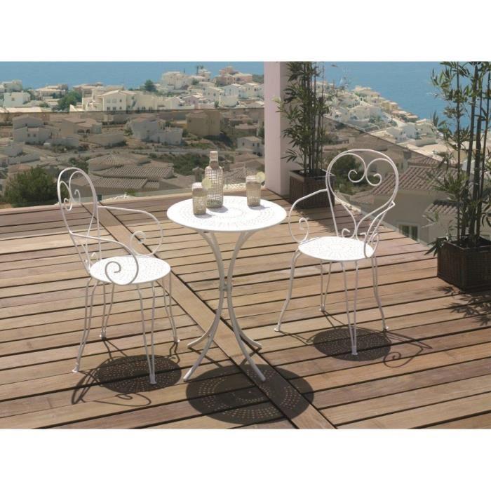 Mobilier de jardin en fer forgé blanc - Mailleraye.fr jardin