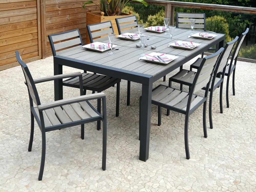 Salon de jardin composite gris