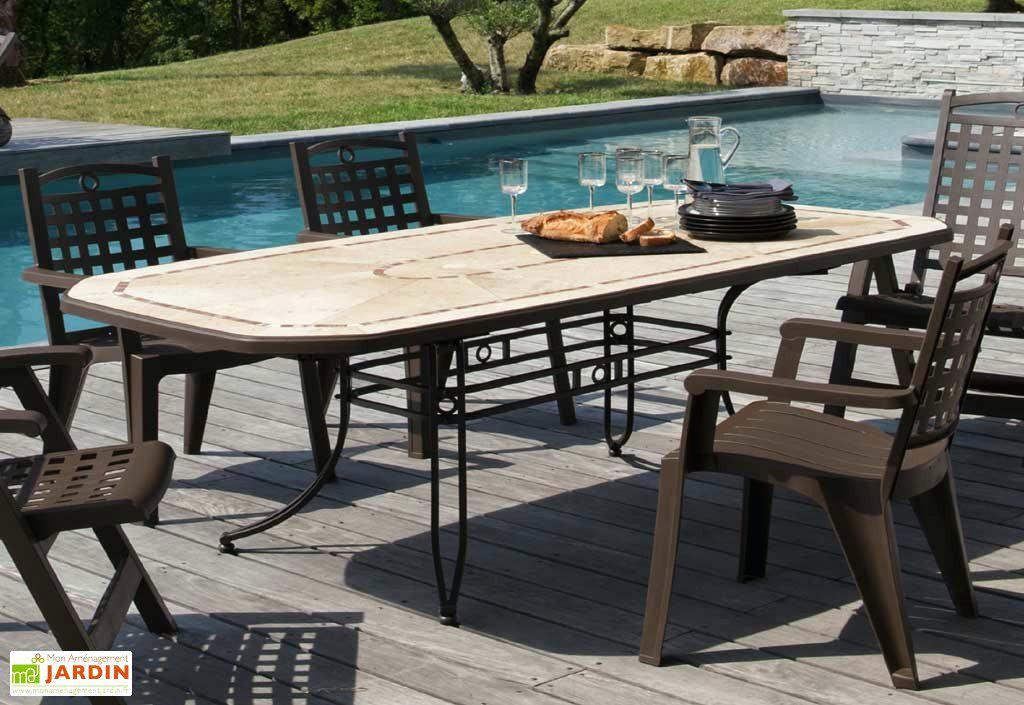 Grosfillex - salon de jardin amalfi bronze + 8 fauteuils bora bronze ...