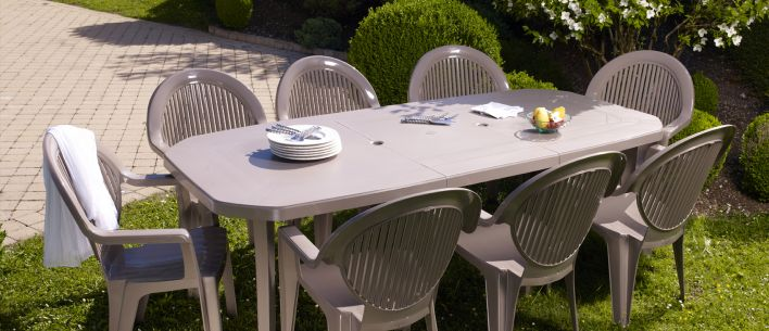 Salon de jardin grosfillex 6 couverts table vega 220x100 taupe ...