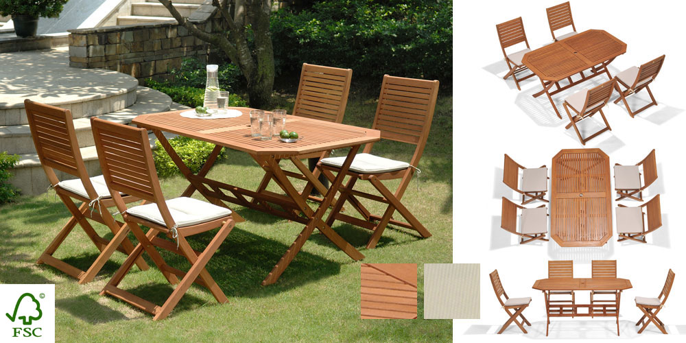 Salon de jardin en teck 4 chaises - Mailleraye.fr jardin