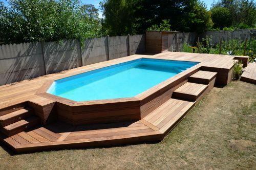Construire terrasse bois autour piscine hors sol - Amenagement autour d une piscine hors sol ...