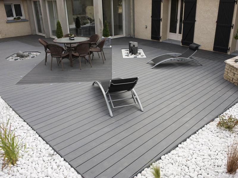 Lame Terrasse Bois Composite Gris Anthracite Mailleraye Fr Jardin