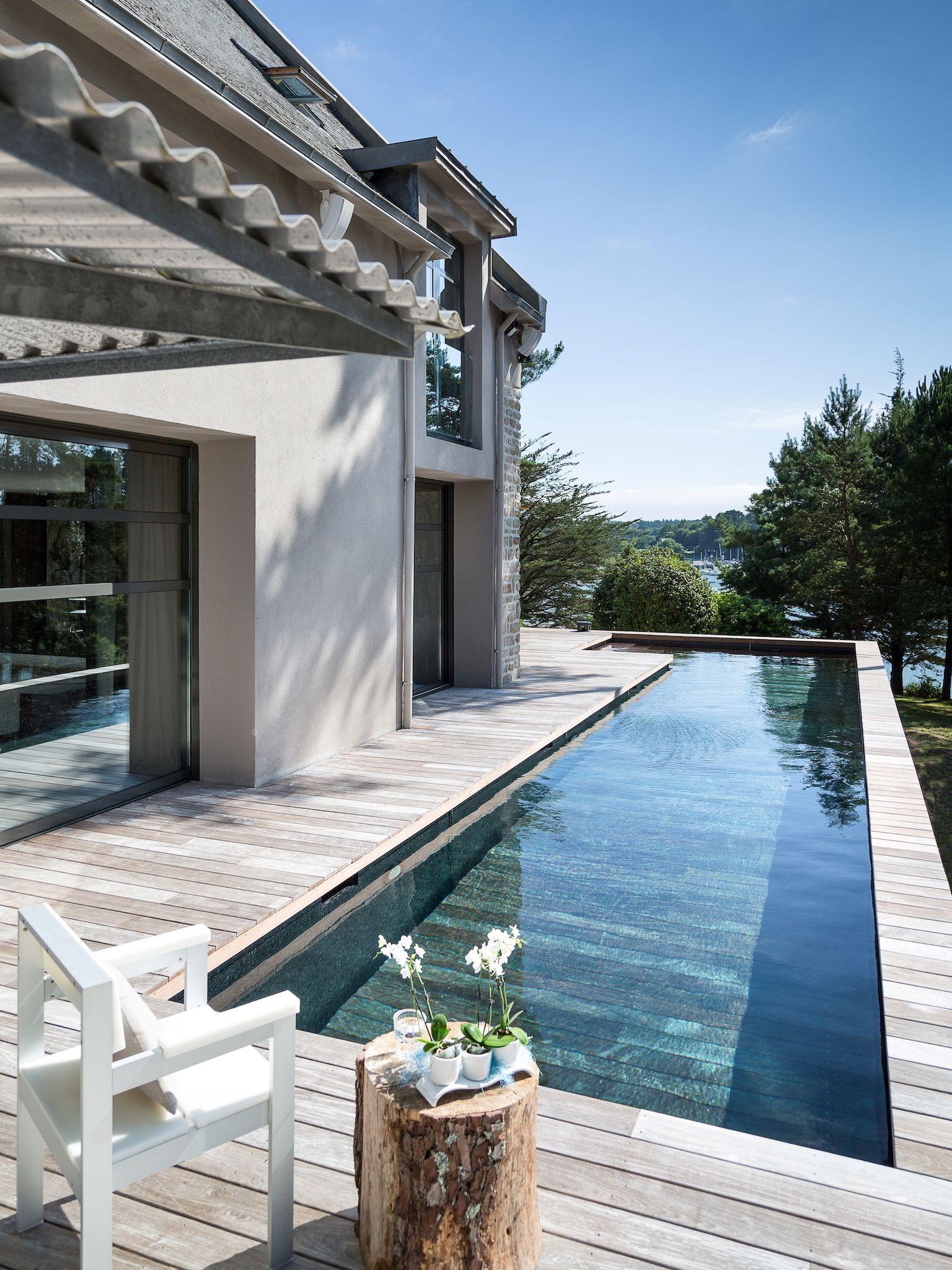 Piscine avec fond terrasse