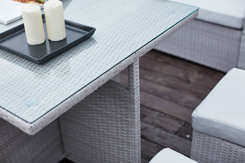 Salon de jardin resine tressee gris clair - Mailleraye.fr jardin