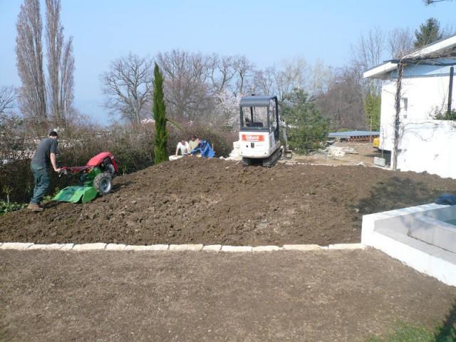 Terrassement jardin en pente