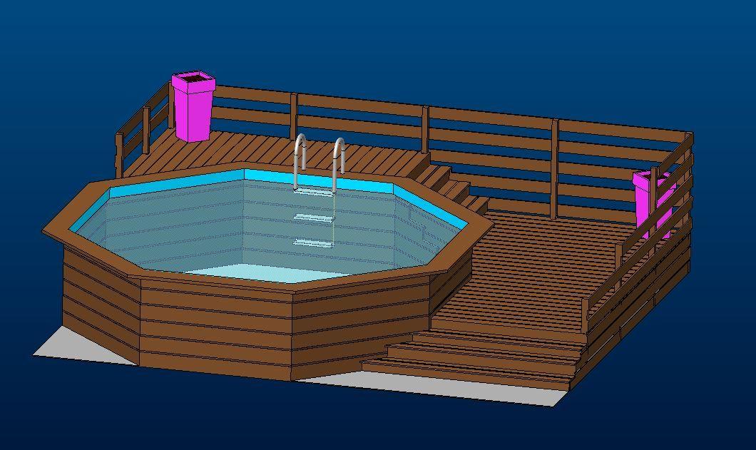 Terrasse autour piscine autoportée