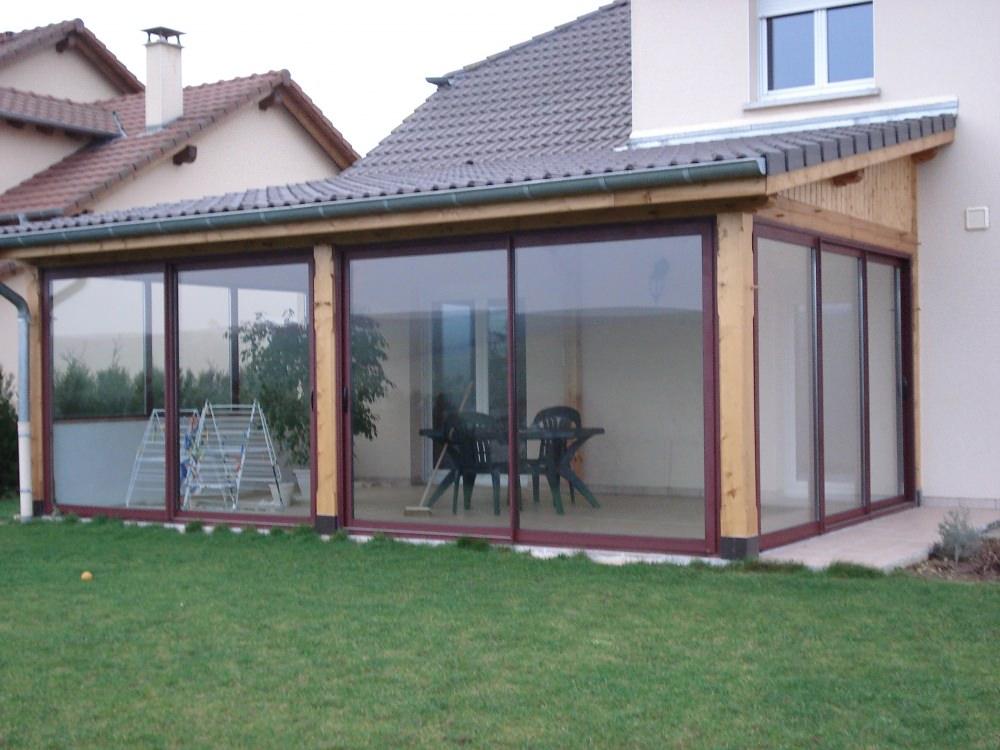 terrasse couverte semi ferm e jardin. Black Bedroom Furniture Sets. Home Design Ideas