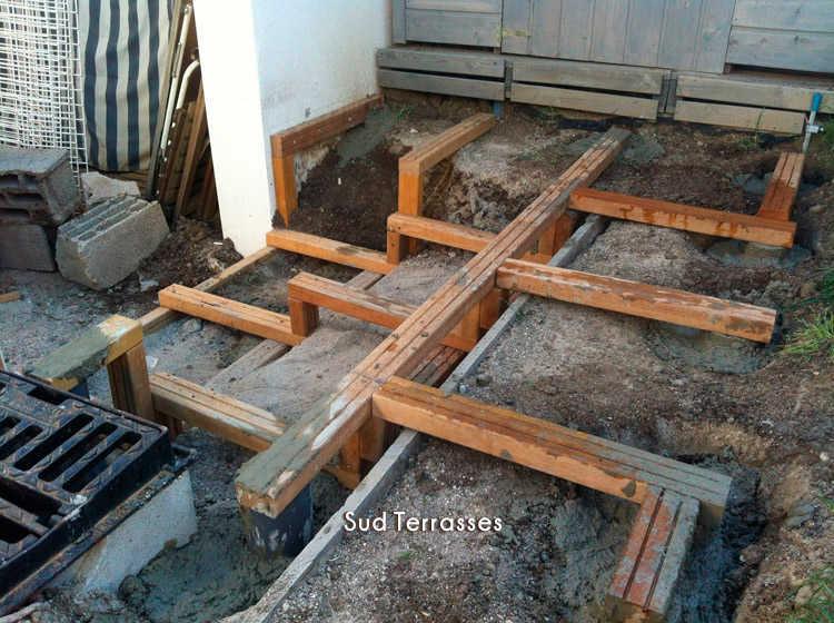 Terrasse beton sur terrain argileux