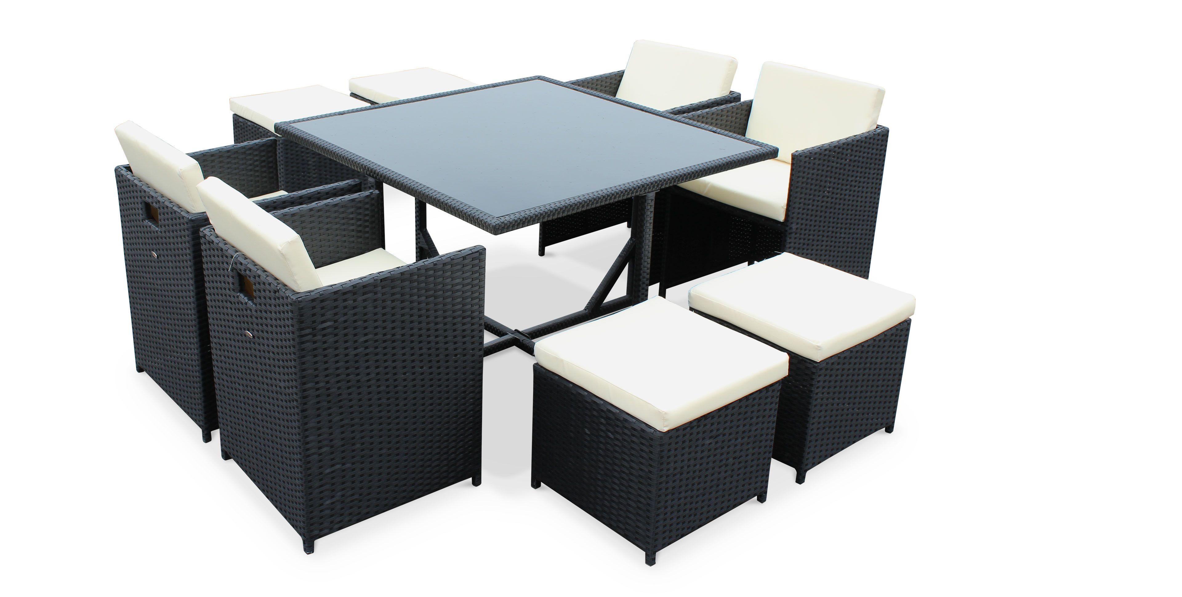 Salon de jardin vasto noir table en résine tressée ...
