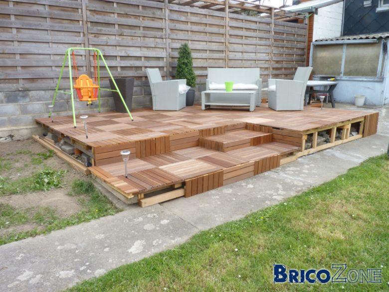 finition terrasse bois sur plot jardin. Black Bedroom Furniture Sets. Home Design Ideas