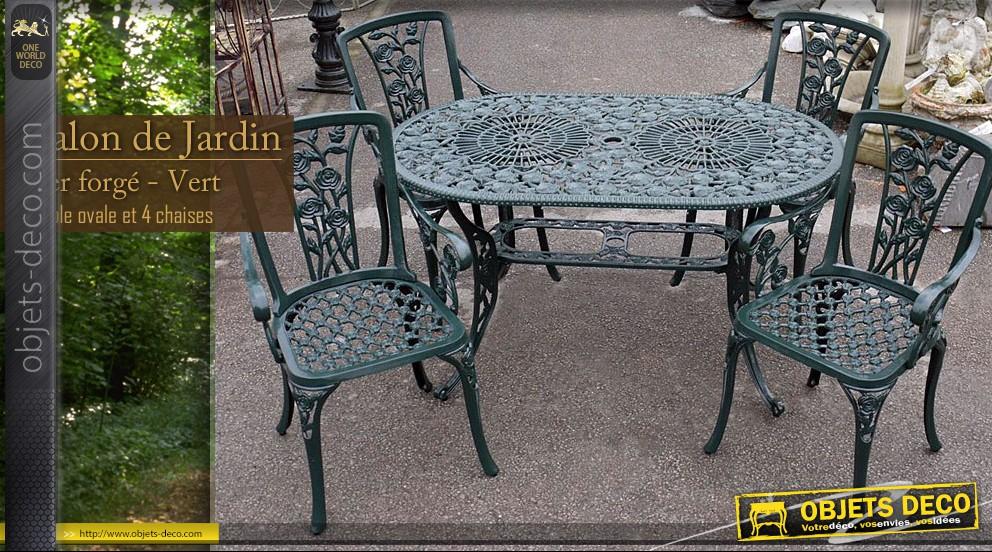 Salon de jardin fer forgé table ovale - Mailleraye.fr jardin