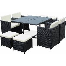 Salon de jardin table + 6 chaises en résine tressée - bali chocolat