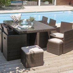 Salon de jardin capri luxe gris - 7 places - Mailleraye.fr jardin