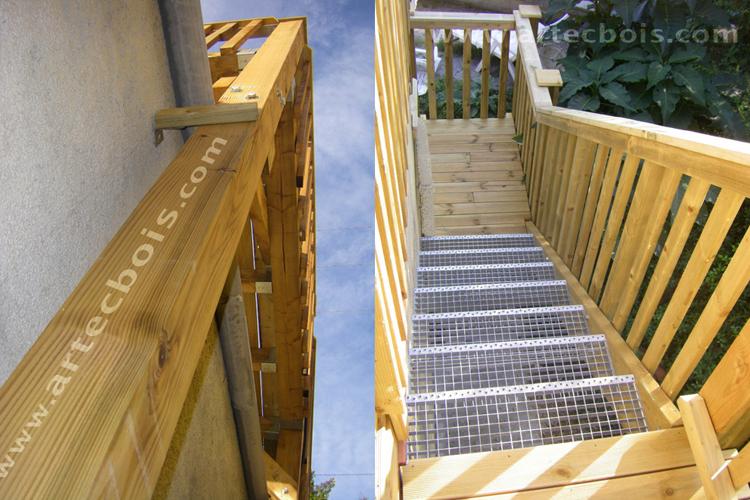 Terrasse bois avec balcon