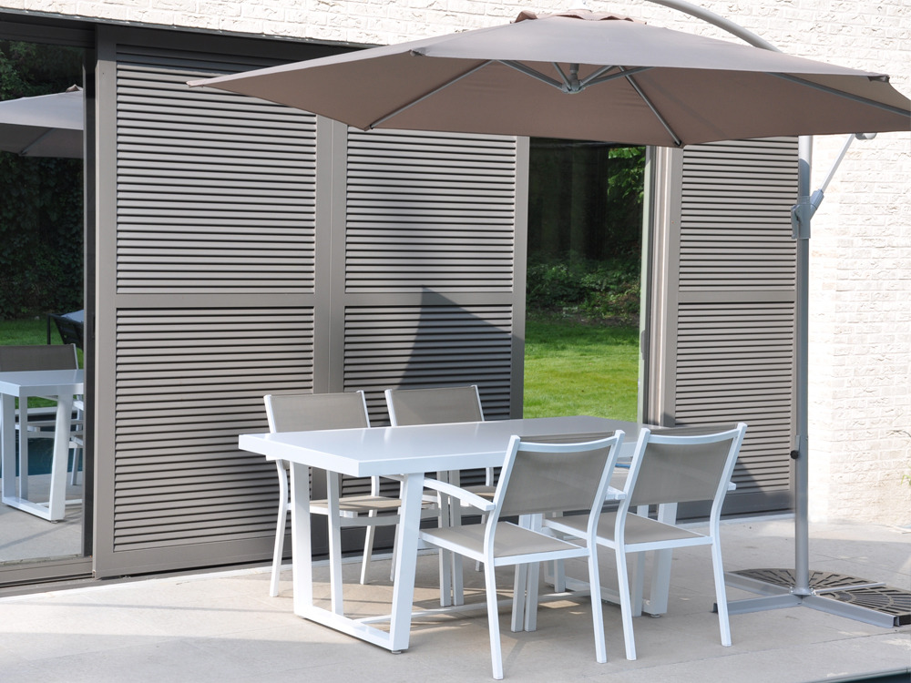 Salon de jardin en aluminium taupe - Mailleraye.fr jardin