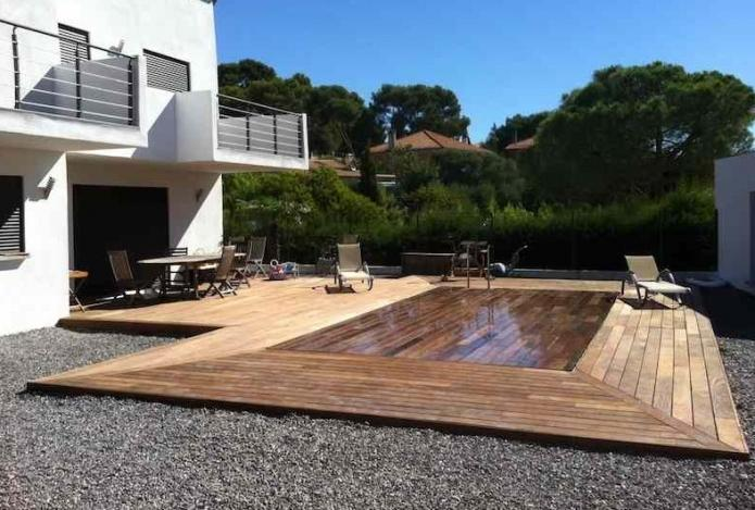 Terrasse bois piscine amovible