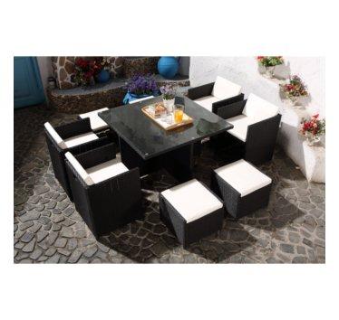Salon de jardin en resine luxe poly rotin pour 8 personnes ...